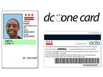 DC One Card logo and front/back view of sample card